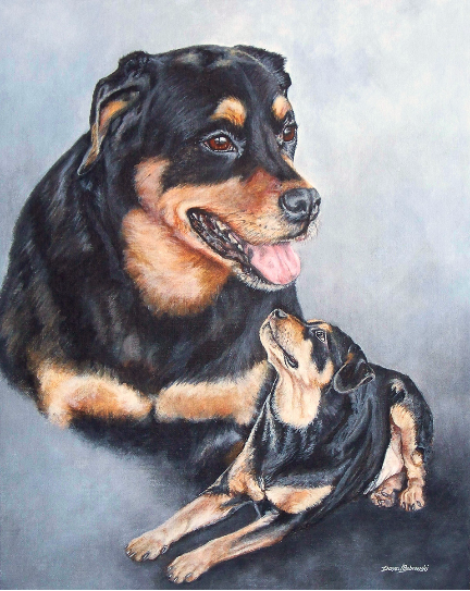 An acrylic  painting of Rottweilers  by Pet Portrait artist  Donna Bobrowski.