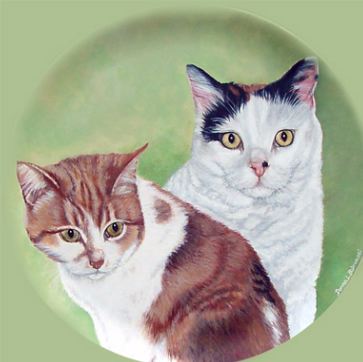Acrylic Plate Portrait of Two Cats.