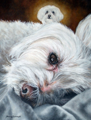 Acrylic  Painting of two Maltese companions by Donna Bobrowski.